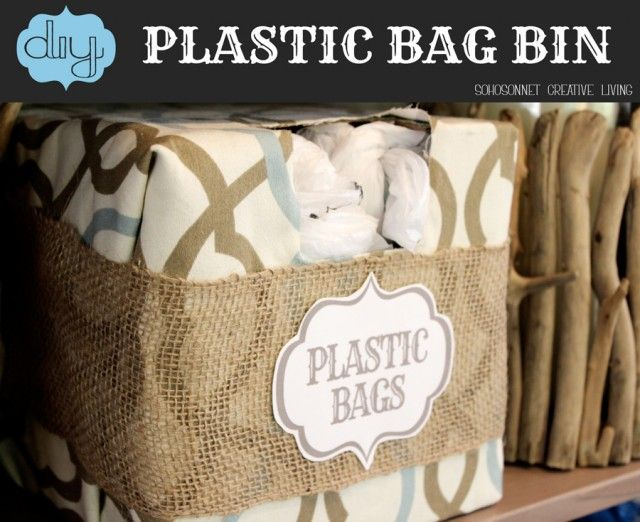 #DIY Plastic Bag #Storage Bin. Make a grocery bag holder-  Sohosonnet Creative Living