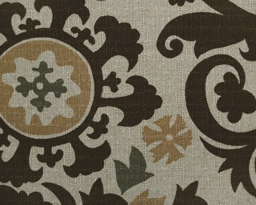 Decor-Suzani in Chocolate and Green on Oatmeal