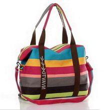 2016 colores calientes de la venta de la raya grande de la lona bolso de las mujeres de moda de Alta capacidad Bolsas de Viaje bolsa de Compras moda útil WLHB237(China (Mainland))