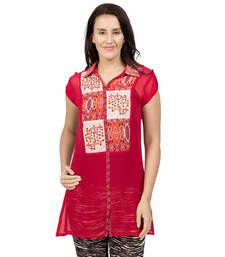 Buy Red plain Georgette tunics tunic online