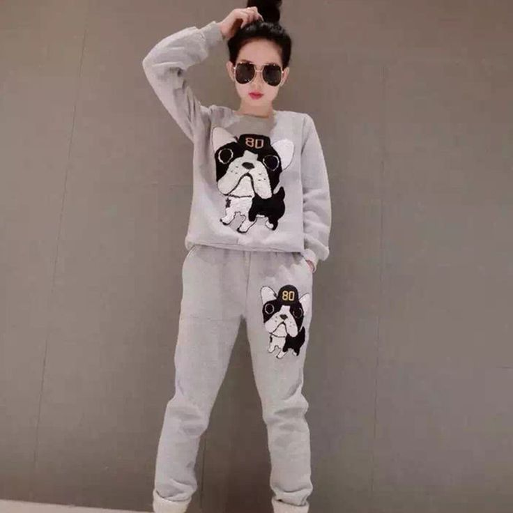 2016 Promotion tracksuit  Women Autumn Wear Kawaii Plus Size Sleeve Two-piece Cartoon Fleece Casual Shirts Roupas Feminina