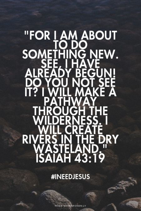 """For I am about to do something new. See, I have already begun! Do you not see it? I will make a pathway through the wilderness. I will create rivers in the dry wasteland."" Isaiah 43:19 - #INeedJesus 