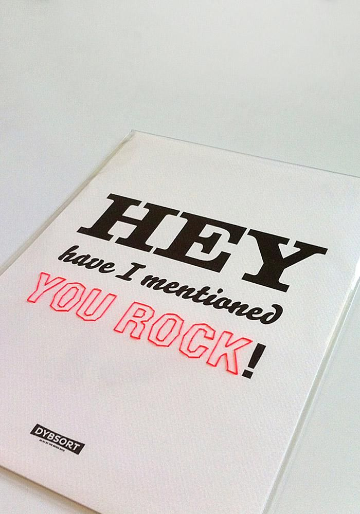 Hey have I mentioned YOU ROCK! handstitched lettering poster.