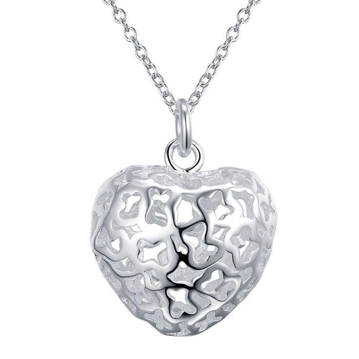 Полые сердце любовь простой посеребренная Ожерелье Новый Продажи серебряные ожерелья & подвески/IIUYFIQY…