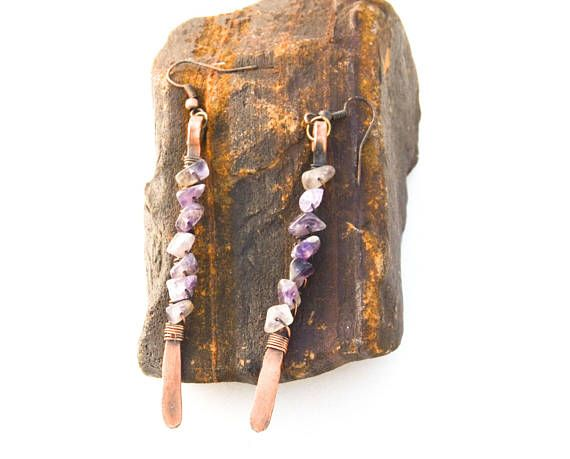 Amethyst quartz crystal and copper earrings amethyst quartz