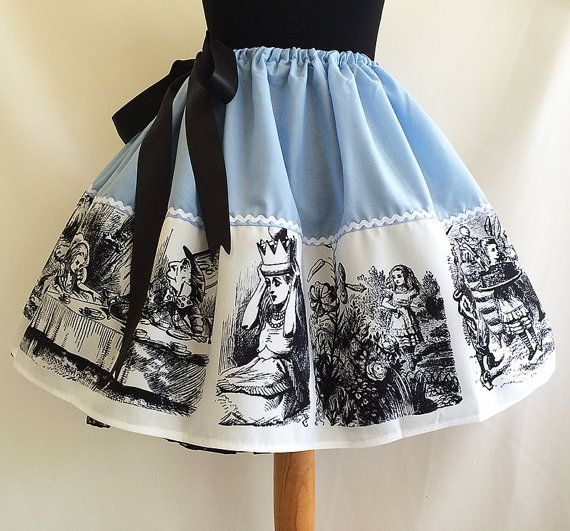 Gorgeous Alice In Wonderland Dressing Up skirt!  These come as a standard 19 long or 24 long, please choose the length you need from the drop down menu.  They work like a drawstring waist and open out wide to 2 meters. They are therefore a FREE size.  **PUFF IT OUT WITH A PETTICOAT** https://www.etsy.com/uk/listing/203167846/petticoat-underskirtfluffy-petticoat?ref=shop_home_active_1  **MATCH WITH A BLACK BODYSUIT…