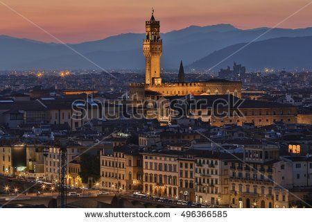 The Palazzo Vecchio and the city of Florence at night - viewed from Piazzale Michelangelo. In 1982, the historic center of Florence was declared a UNESCO World Heritage Site