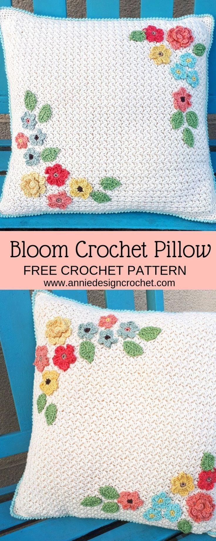 bloom pillow free crochet pattern for