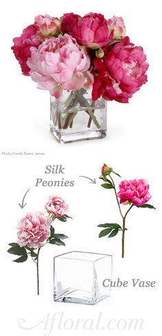 Create an elegant pop of color on your event tables with bright and beautiful silk peonies from Afloral.com.  Simply add to a clear glass vase of water and you have a timeless and pretty centerpiece for your DIY wedding or home decor.