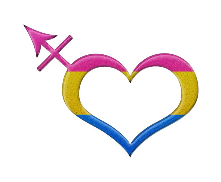 Pansexual pride heart shaped transgender symbol in matching pride flag colors.	 	#Pansexual	 	#liveloudgraphics