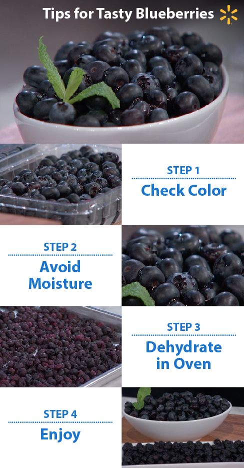"""""""Dry"""" berries are good berries! To make sure you pick the best blueberries, be sure they are dry and dark purple. Red berries aren't ripe – once a blueberry is picked, Try dehydrating the berries in an oven at a low temperature. This will intensify the flavor. Dehydrated blueberries are chewy, a little bit sweeter and will last longer.  Watch Food Fighters on NBC for more great tips. Thursdays at 8/7pm CT."""