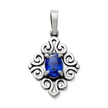 Scrolled Pendant with Lab-Created Blue Sapphire in Sterling Silver   James Avery