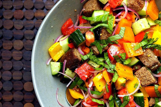 Colorful Summer Panzanella (heaven with heirloom tomatoes!)