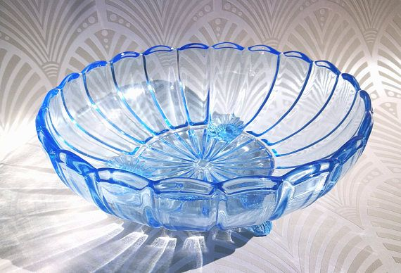 Art deco blue glass fruit bowl, Art deco fruit bowl, 3 footed glass bowl, Blue glass fruit bowl, Vintage glass dish, 30's large serving bowl