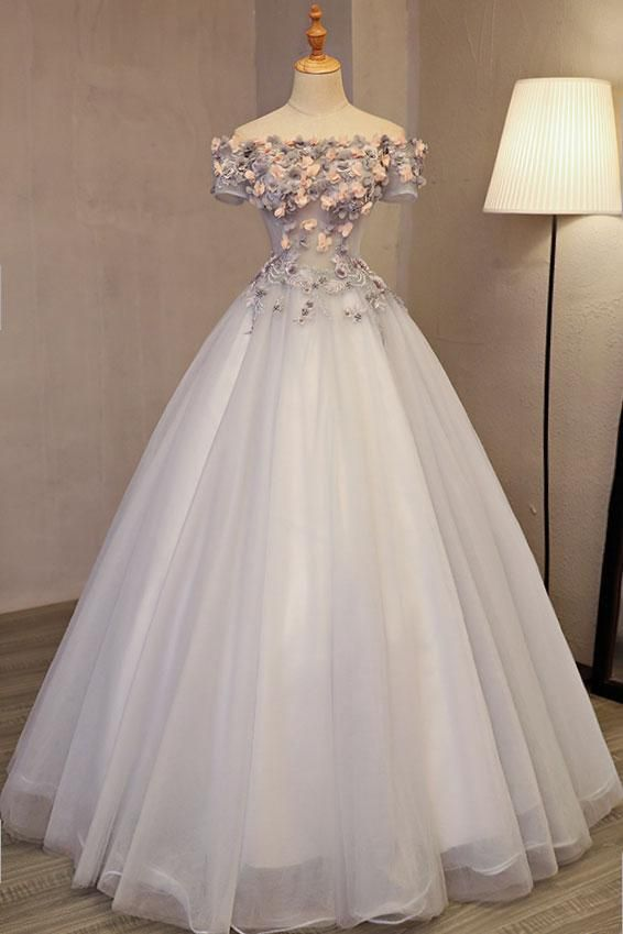 805b170a83e Gray tulle applique long prom dress