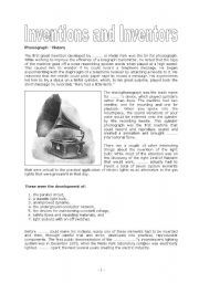 English worksheet: Inventions and Inventors