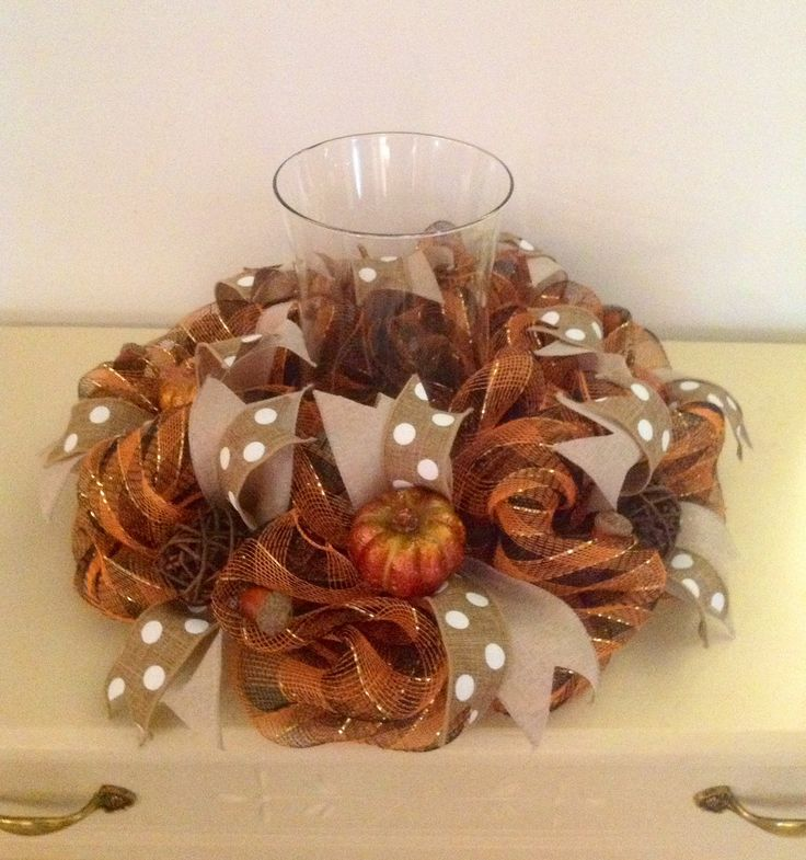 "16"" Brown/Gold Fall Deco Mesh Centerpiece with 9"" Hurricane"