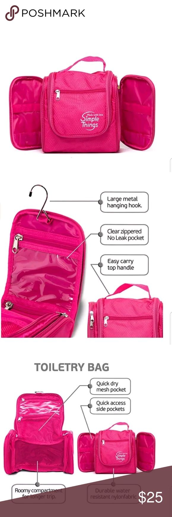 Pink Toiletry Bag Travel Organizer THE #1 TOILETRY BAG FOR YOU: Travel with comfort or organize your bathroom fast and easy using the best toiletry bag by SimpleThings. Its large storage capacities and the many different zippered compartments  pockets allow you to store and use all of your different bathroom products like make up, shaving accessories, toothbrush and toothpaste, shampoo, soap, feminine hygiene products, hair clips brush and more. Simple Things Bags Travel Bags