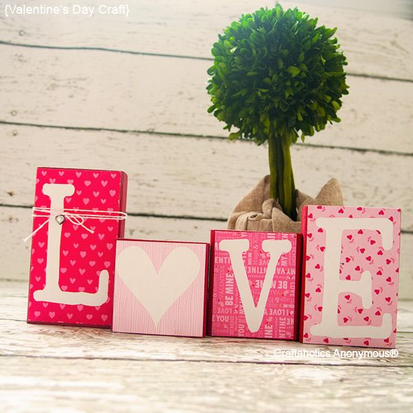 DIY Valentine's Day Blocks using @ModPodgeRocks and your favorite paper! | #crafts #love