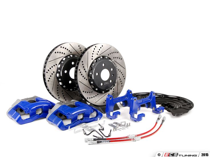 ES#2718614 - 1K0698010 -  Front Big Brake Kit - 2-Piece Cross-Drilled & Slotted Rotors (345x30) - Upgrade your stopping power to the MKV R32 setup with Blue calipers - Assembled By ECS - Audi Volkswagen