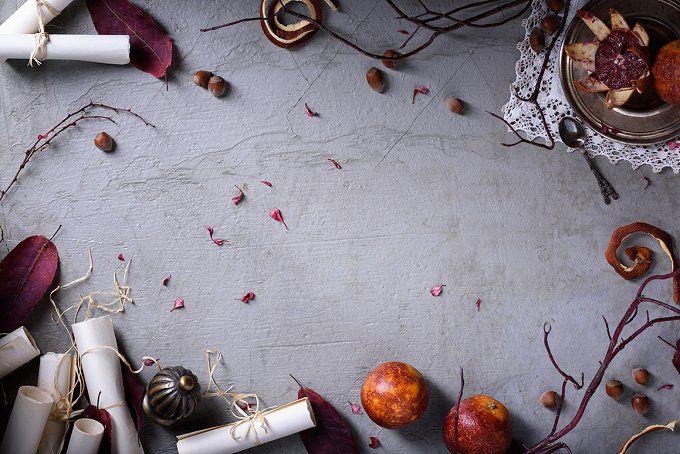 Red oranges, hazelnut and leaves by Iuliia Leonova on @creativemarket