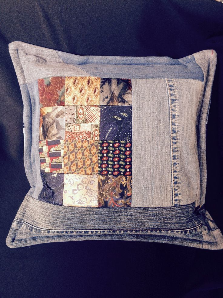 Recycled jean & neck tie pillow by Susan Davis