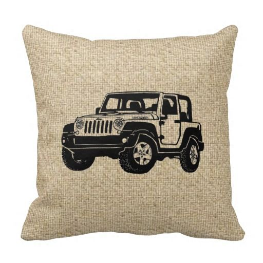 Burlap black JEEP decorative pillow