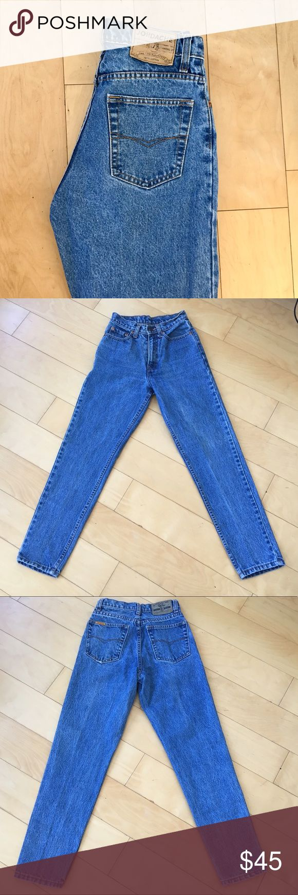 "VTG Jordache high waisted tapered leg jeans Super clean, flattering high waisted mom jeans from throwback brand Jordache. High quality denim comparable to vintage Levi's. Tag say size 7/8 but I personally think they fit more like a modern size 25 or size 0. Please compare measurements below with a pair of jeans that you own, vintage jeans are a bit tricky to convert to modern sizes. **PLEASE BE ADVISED THAT ONLY ONE PAIR IS AVAILABLE**  Tapered leg  Inseam- ~27.75""  Waist- ~25.25"" (12.75""…"