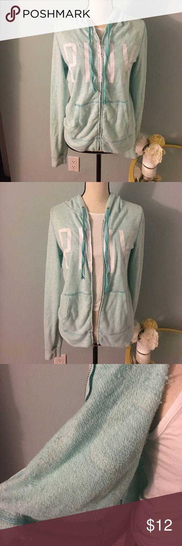 Pink by VS light blood zip up hoodie Very light and comfy, cotton/terry cloth fabric. Light blue with white writing. Size medium. PINK Victoria's Secret Jackets & Coats Utility Jackets
