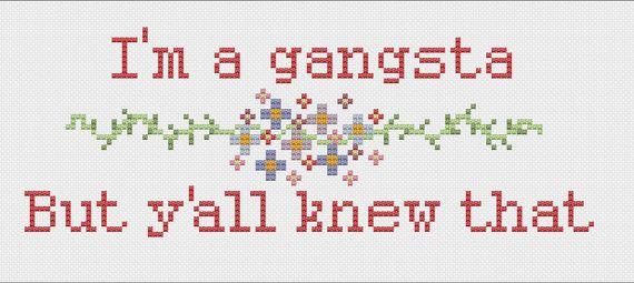 I'm A Gangsta Snoop Dogg Lyrics Cross Stitch Digital Pattern