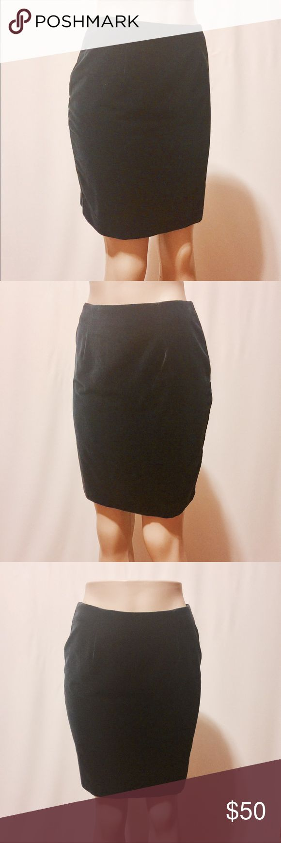 "✨ Hugo Buscati Navy Velvet Pencil Skirt (NWOT) Velvet dreams! Super dark navy velvet, high waisted pencil skirt. No waist, invisible center back zipper closure with back kick pleat. Never worn! Body: 100% Cotton Lining: 100% Acetate Dry Clean Only 26"" Waist 38"" Hips 38"" Sweep 18 1/2"" Overall length Hugo Buscati Skirts Pencil"