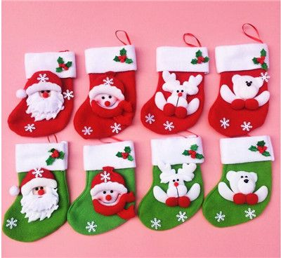 Hot Selling 6Pcs/Lot Small Christmas Stocking Bags Christmas Decoration Supplies Festival Decorations Stockings Ornament JF-08