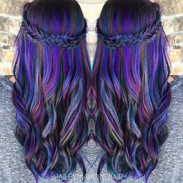 Purple color melt with adorable braid by @haileyrhea rainbow hair mermaid hair unicorn hair hotonbeauty.com