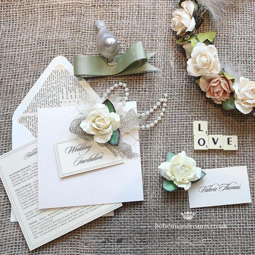 Vintage collage wedding invitation www.bohemiandreams.co.uk