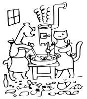 Pejsek a kočička vaří dort