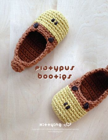 Platypus Baby Booties Crochet PATTERN Kittying Crochet Pattern by kittying.com from mulu.us This pattern includes sizes for 0 - 12 months.