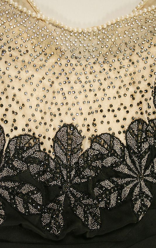 Dress, Evening.  House of Worth (French, 1858–1956).  Date: ca. 1911. Culture: French. Medium: silk, beads, stones, simulated pearls. Dimensions: Length at CB: 64 in. (162.6 cm).