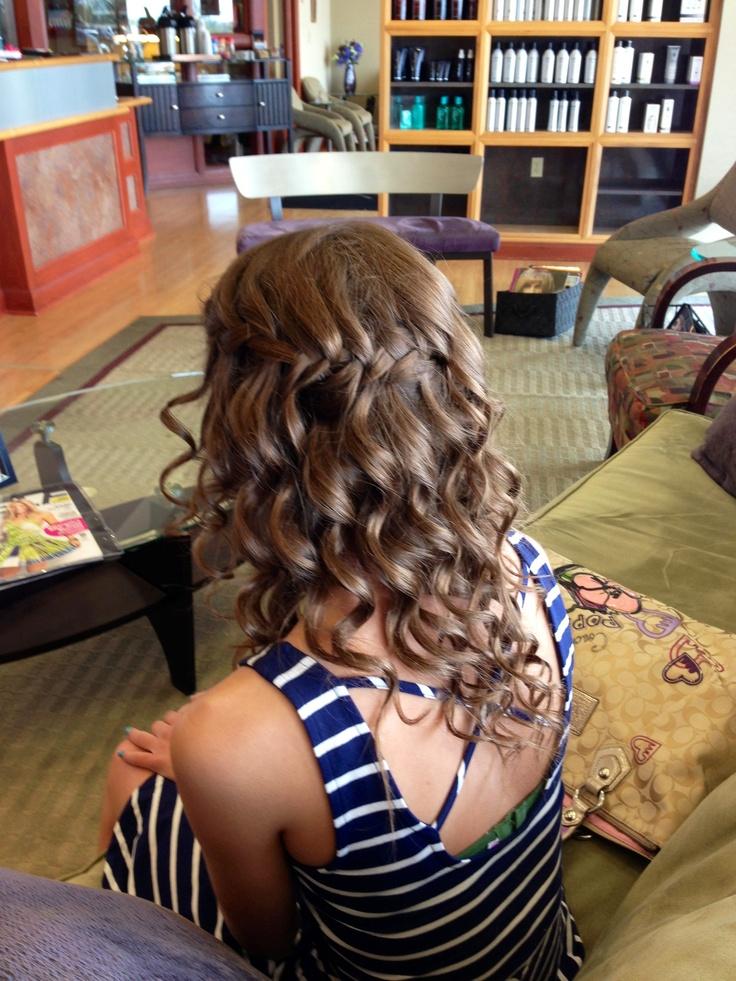Spiral Curls with Waterfall Braid  Prom Hair