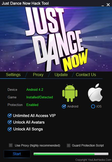 Just Dance Now Hack Tool (Android/iOS)   Just Dance Now Hack Tool(Android/iOS)  We want to present you an amazing tool calledJust Dance Now Hack Tool.With ourJust Dance Now Traineryou canget unlimited All Access VIP Unlock All AvatarsandUnlock All Songs.Our soft works on allAndroidand iOS devices. It does not require any jailbreak or root. OurJust Dance Now Cheatis very easy to use. Just Connect your device select the device check the options you want to add click on the buttonStartand youre…