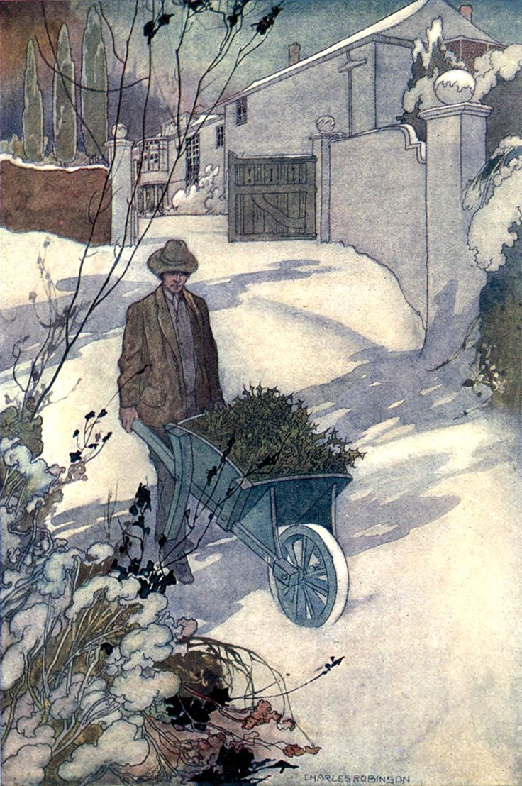 """""""Winter"""" illustration by Charles Robinson from """"Our Sentimental Garden"""" (1914)"""