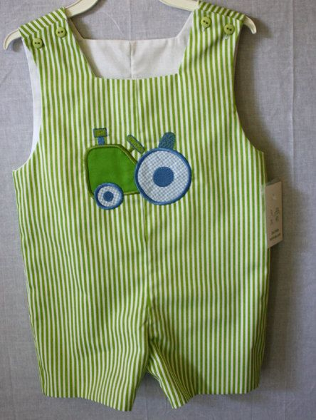 291483 - Baby Boy Clothes - Childrens Clothes-  Baby Clothes - Boy Jon Jon - Like John Deere Tractor Applique - Tractor Applique _ Romper