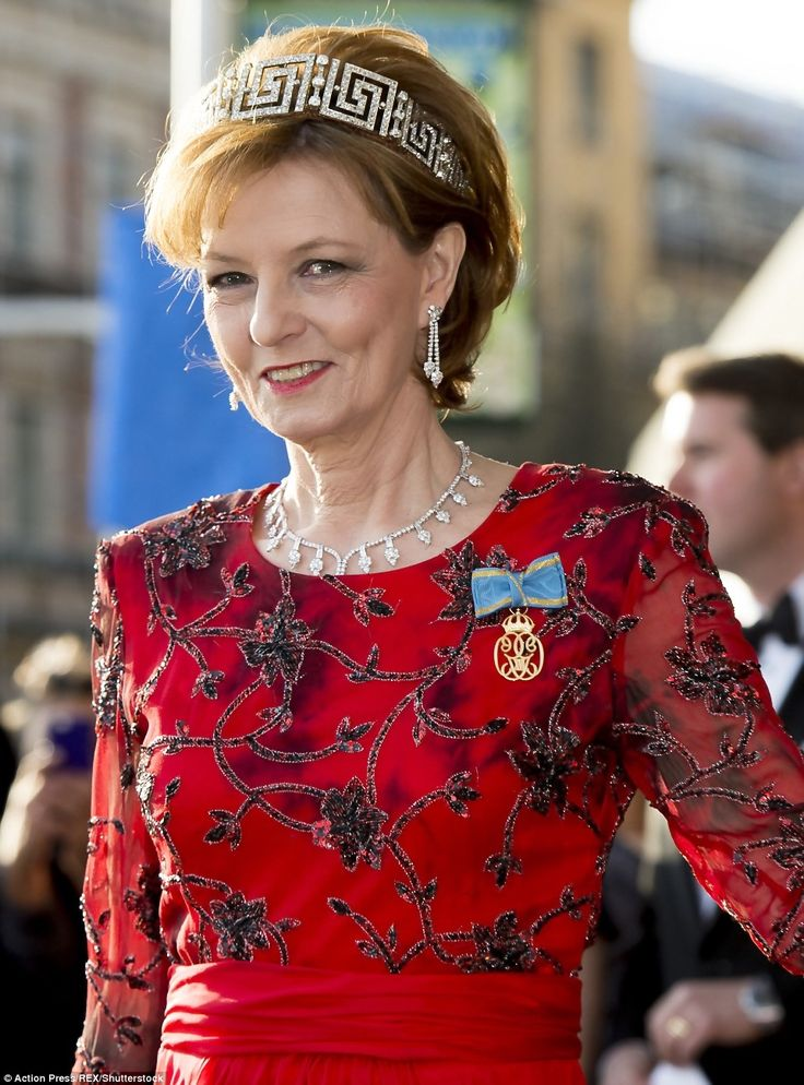 Crown Princess Margareta of Romania wearing the Romanian Greek Key Tiara; interestingly, this is the only tiara still in the possession of the Romanian Royal Family.