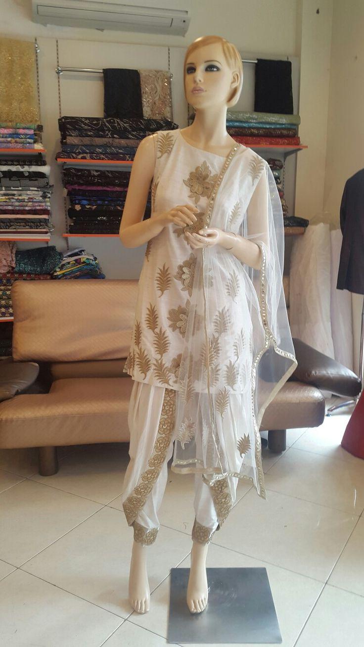 #dhoti#white#gold#raw-silk#net-duppata#