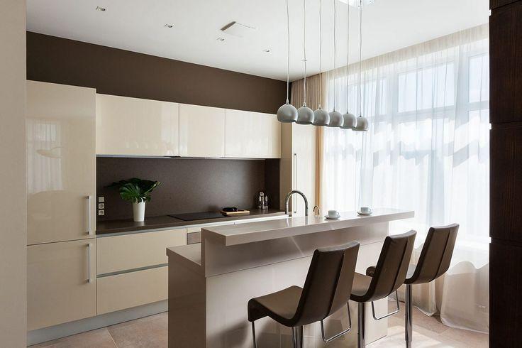 Csokoládébarna, bézs, szürke és fa - két elegáns lakás kellemes színekkel. #kitchen #konyha #modern #decoration