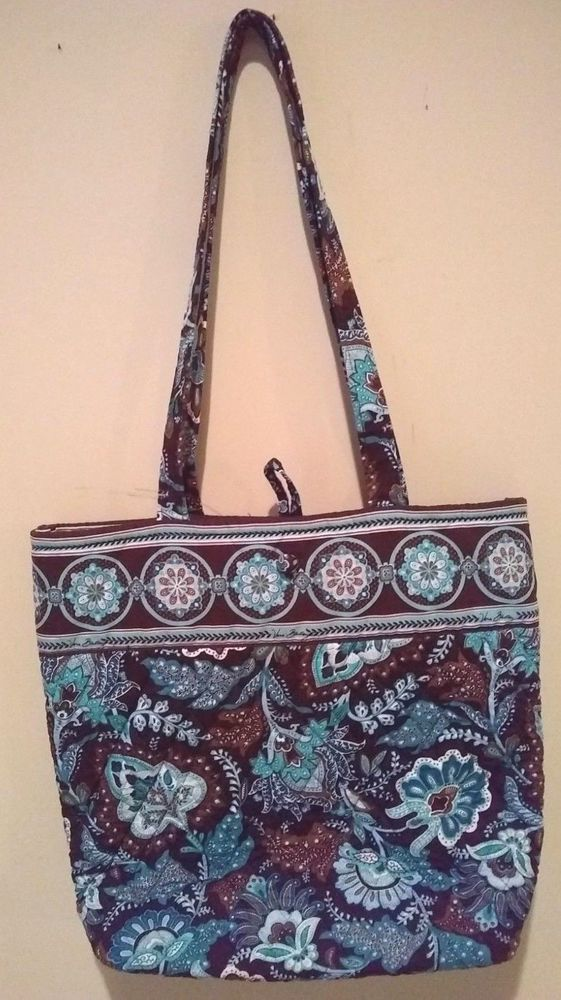 2066e5d92 Vera Bradley Java Blue Brown Button Tote Purse Shoulder Bag Retired EUC # Verabradley #ShoulderBag