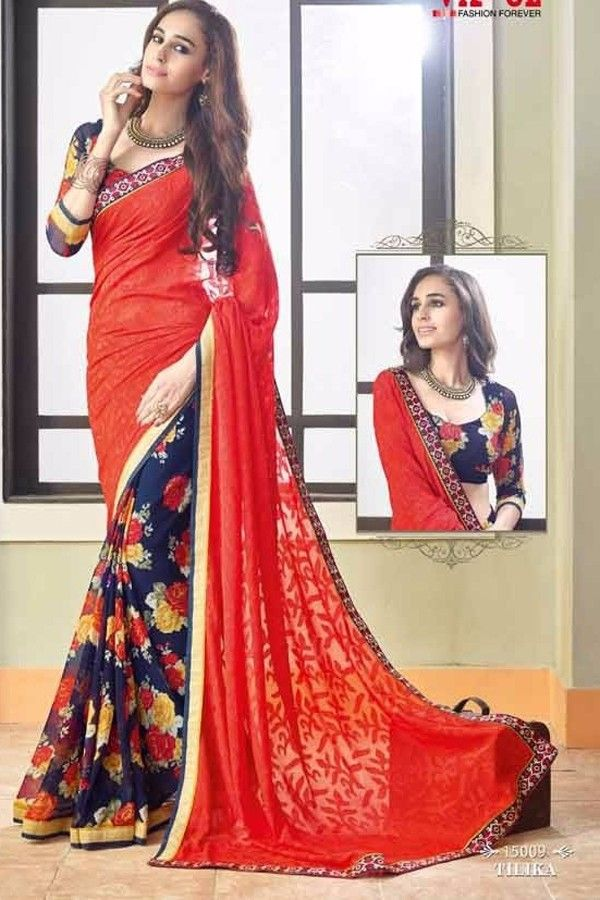 Red and Blue Brasso and Faux Georgette Saree Online Shopping-Z7258P15009-162