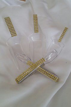 Set Of 5 Pieces: 3 Bling Assorted Scoops And 2 Bling Tongs For Candy Buffett Gold $20