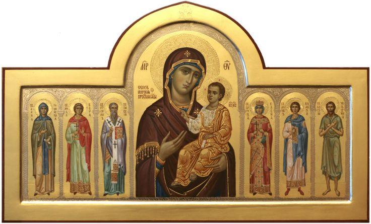 Иверская икона Божией Матери с предстоящими святыми, иконописец Дмитрий Хомяков