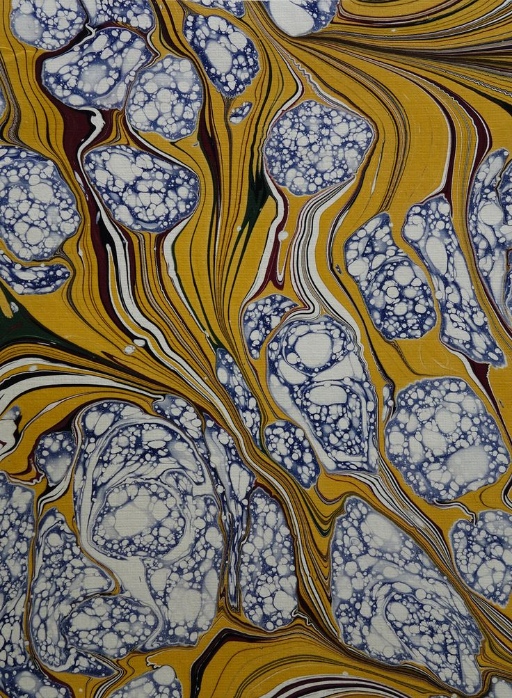 "Tipped in original marbled paper by Iris Nevins, accompanying her article, ""Partridge Eye,"" in Marbling Bath, Forum/Newsletter of Marbling, Spring, 1994,volume 1 number 1."