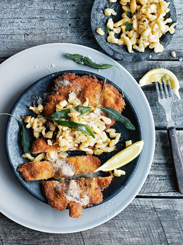 chicken and caraway schnitzel  with buttermilk spaetzle from donna hay magazine issue 80 autumn 2015